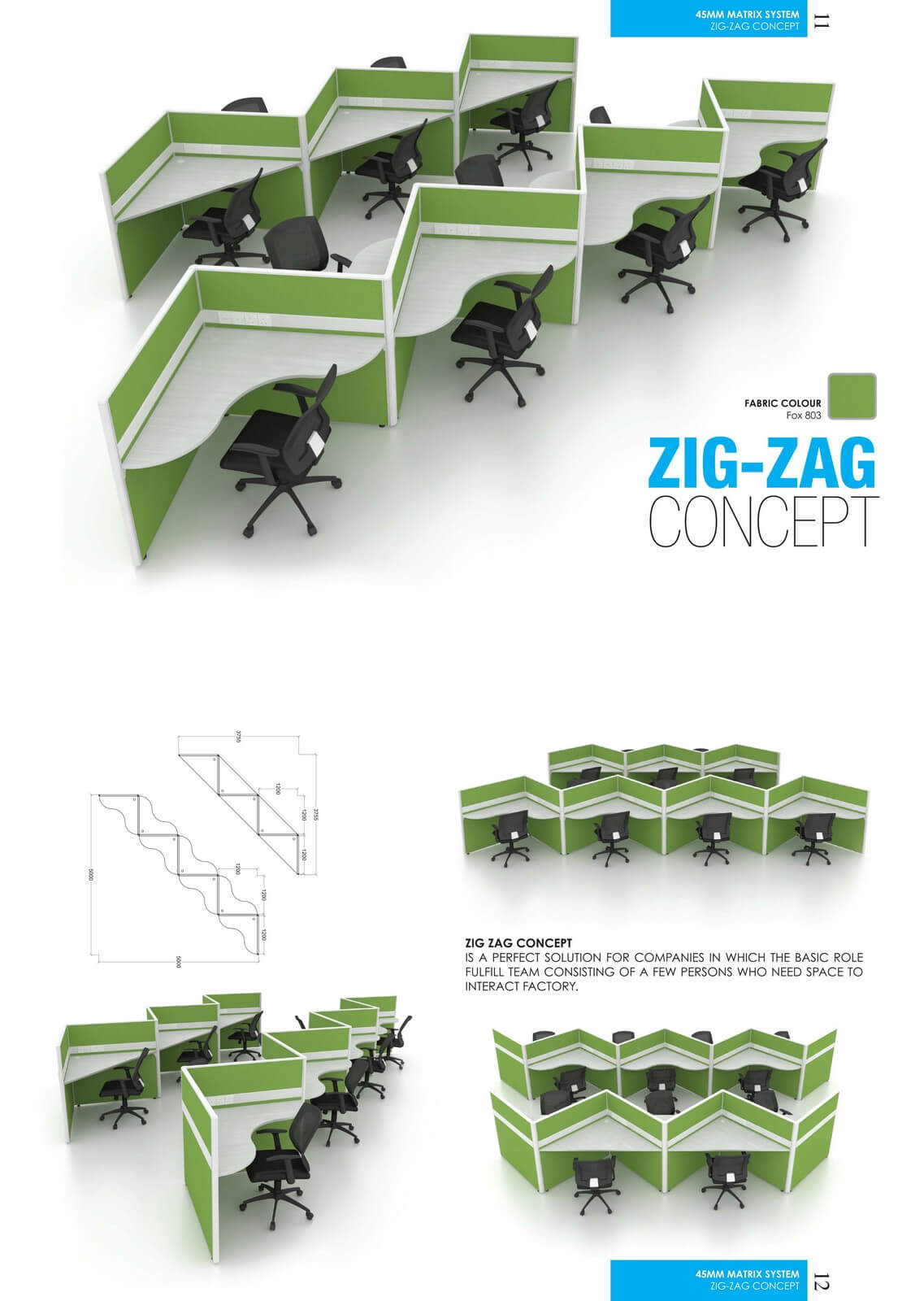 Office Workstation Zig-Zag Concept