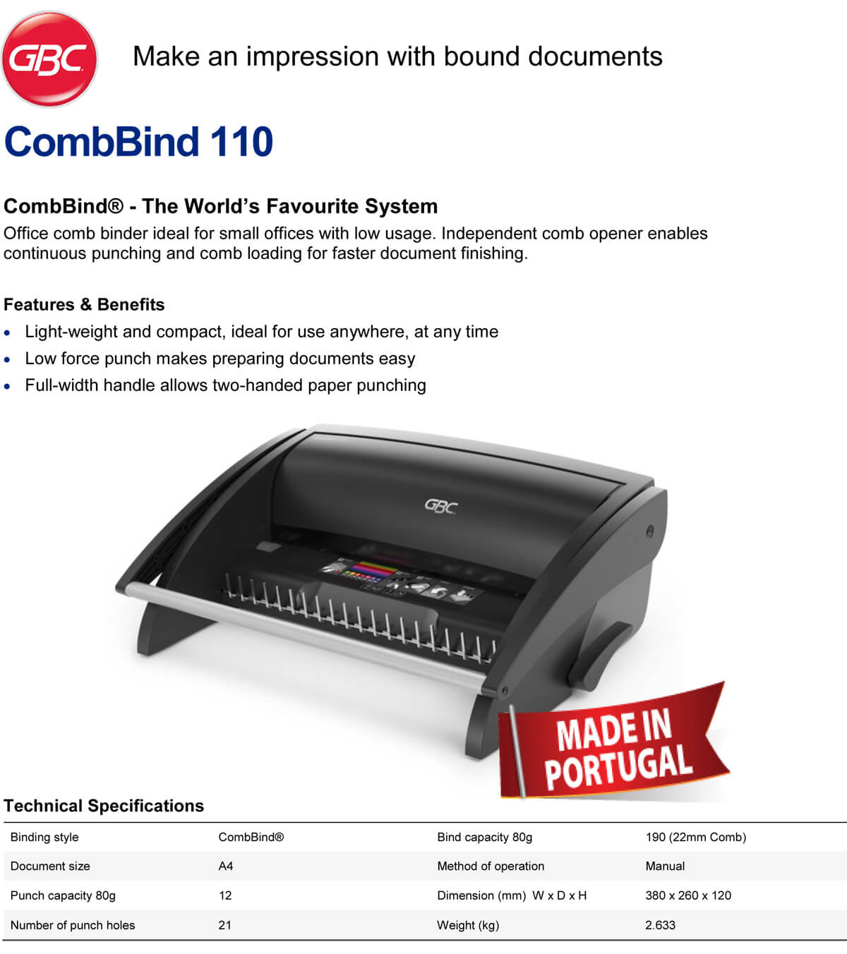 GBC - CombBind 110 Binding Machine