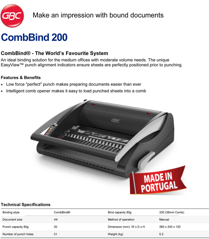 GBC - CombBind 200 Binding Machine