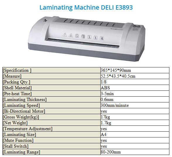 Laminating Machine Deli E3893