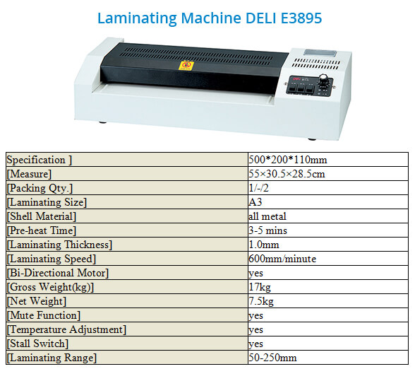 Laminating Machine Deli E3895
