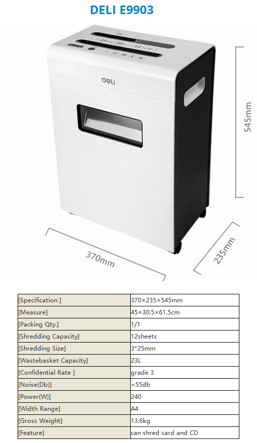Paper Shredder Deli E9903