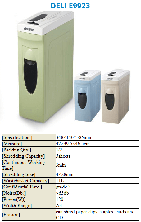 Paper Shredder Deli E9923