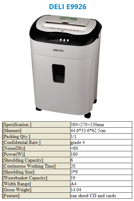 Paper Shredder Deli E9926