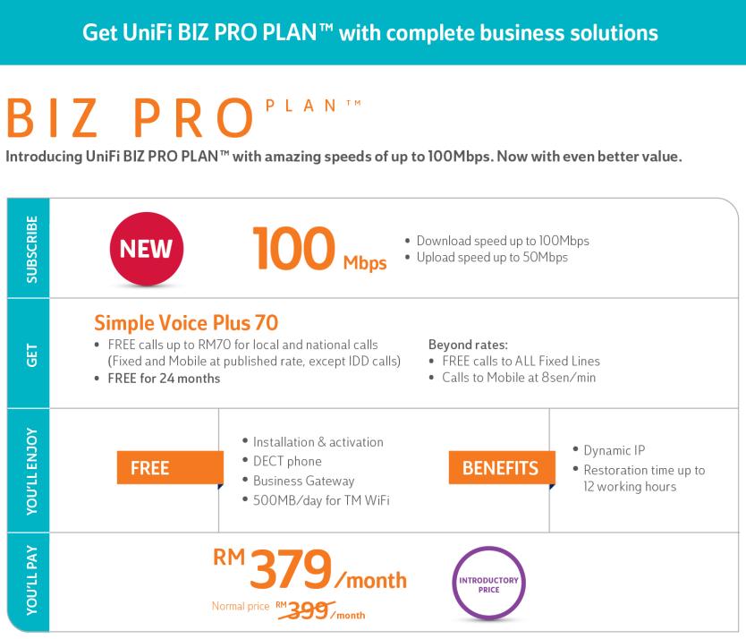Unifi Biz Pro Plan - 100mbps